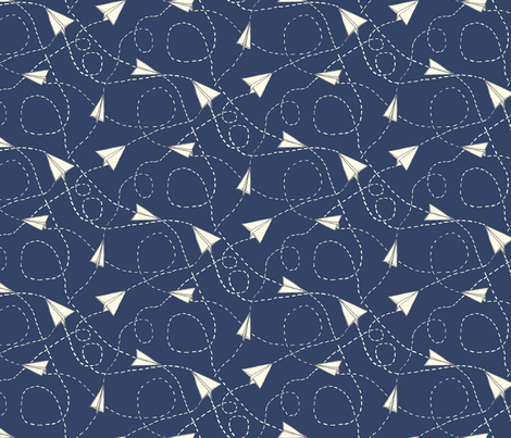 Design Crafty Paper planes 'night sky' fabric by designcrafty on Spoonflower - custom fabric