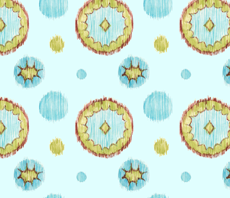 Ikat Dots - aqua fabric by katrinazerilli on Spoonflower - custom fabric