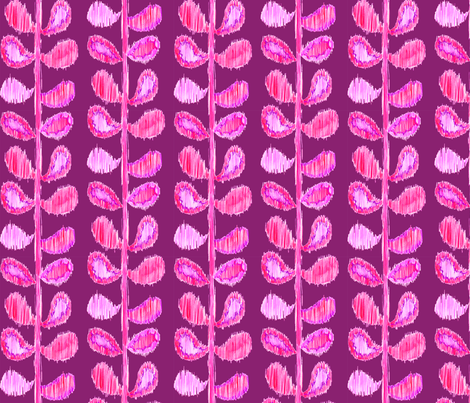 Ikat Stems - pink and violet fabric by katrinazerilli on Spoonflower - custom fabric