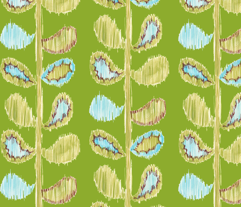 Ikat Stems - green and blue fabric by katrinazerilli on Spoonflower - custom fabric