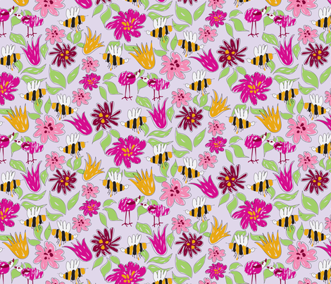 Clem's Bees and Birds fabric by fussypants on Spoonflower - custom fabric