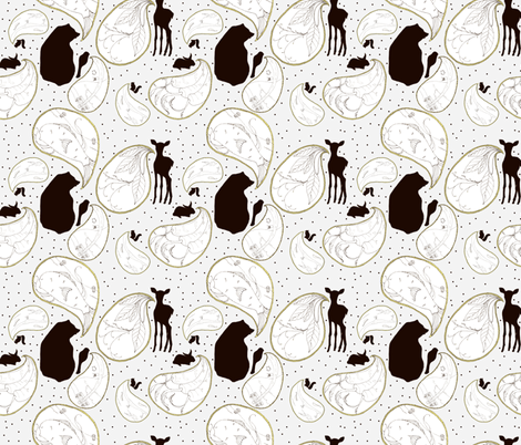 Animal Sounds Paisley - Gray fabric by sparegus on Spoonflower - custom fabric