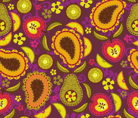 Paisley Fruit Salad fabric by cynthiafrenette on Spoonflower - custom fabric