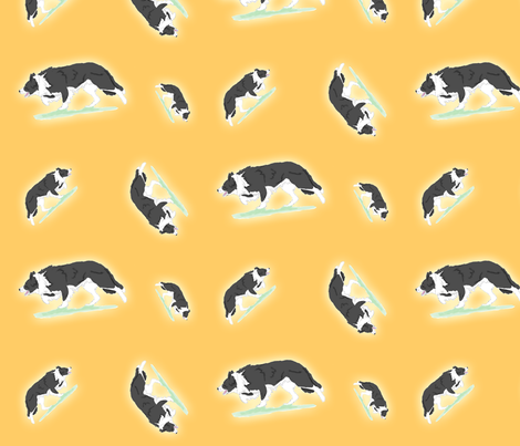 Herding Border Collies - gold fabric by rusticcorgi on Spoonflower - custom fabric