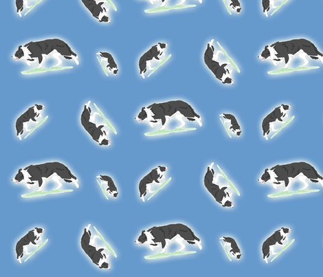 Herding Border Collies - blue  fabric by rusticcorgi on Spoonflower - custom fabric