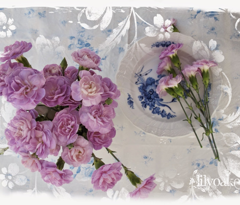 Watercolor Roses in Blueberry Blue