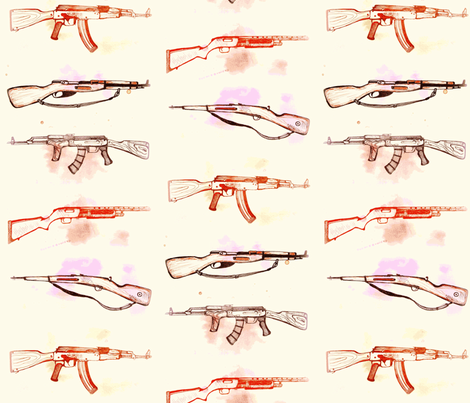guns- cream fabric by snuffbox on Spoonflower - custom fabric