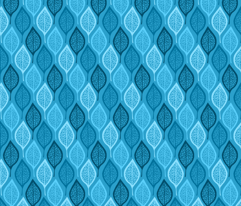 Skeleton Leaves - Blue fabric by siya on Spoonflower - custom fabric