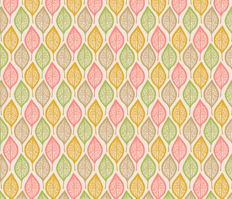 Skeleton Leaves - Pastel fabric by siya on Spoonflower - custom fabric