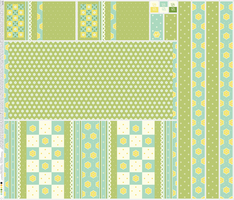Checkerboard Tote - Victorian Green and Lemon - flexible kit plus bonus fabric by inscribed_here on Spoonflower - custom fabric