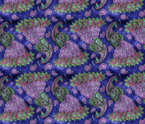 Peacock paisley fabric by marica_zottino on Spoonflower - custom fabric