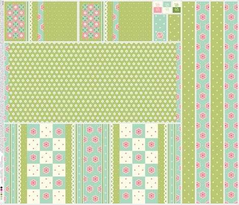 Checkerboard Tote - Victorian Green and Rose - flexible kit plus bonus fabric by inscribed_here on Spoonflower - custom fabric