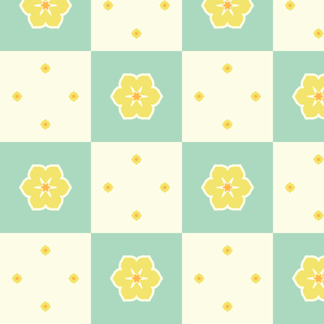 Checkerboard Petal - Victorian Lemon fabric by inscribed_here on Spoonflower - custom fabric