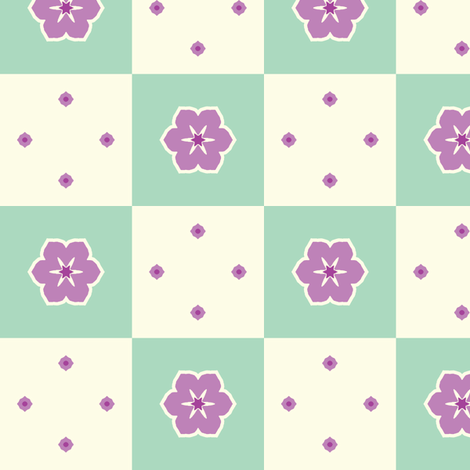 Checkerboard Petal - Victorian Violet fabric by inscribed_here on Spoonflower - custom fabric