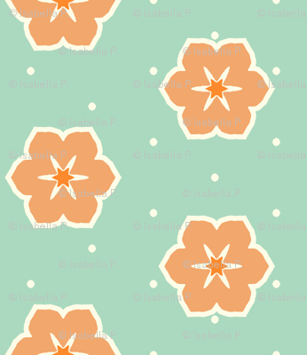Cream Dots Floral - Victorian Apricot