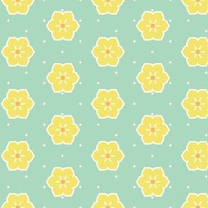 Cream Dots Floral - Victorian Lemon