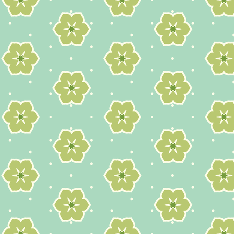 Cream Dots Floral - Victorian Green fabric by inscribed_here on Spoonflower - custom fabric
