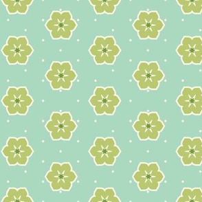 Cream Dots Floral - Victorian Green