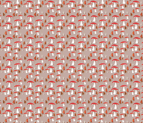 champignons_mignons_fond_beige_M fabric by nadja_petremand on Spoonflower - custom fabric