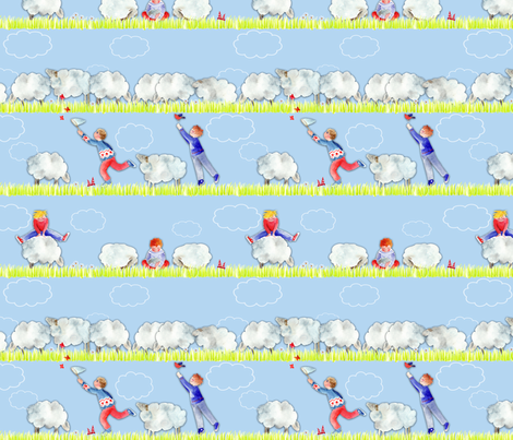 123 saute les mouton dans les nuages fabric by nadja_petremand on Spoonflower - custom fabric