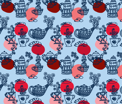 a_table_set_marine fabric by nadja_petremand on Spoonflower - custom fabric