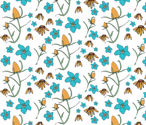 Forget Me Not in Natural fabric by sophiebenoit on Spoonflower - custom fabric