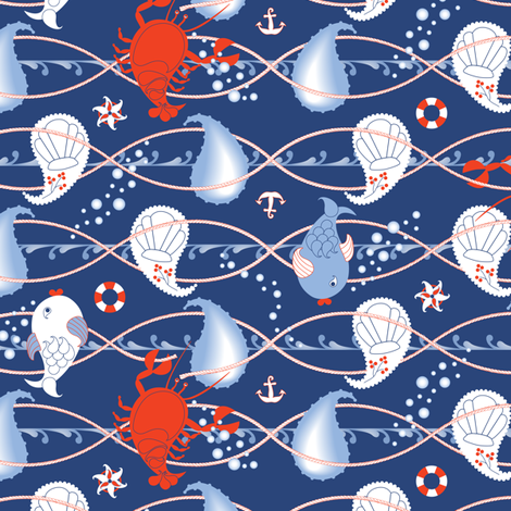 catch me if you dare - a maritime paisley fabric by annosch on Spoonflower - custom fabric