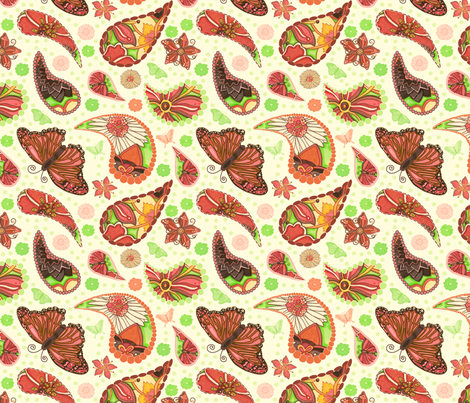 Butterfly Paisley fabric by twobloom on Spoonflower - custom fabric