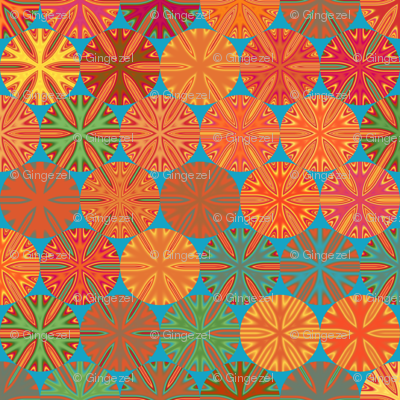 Citrus Slices Geometric in  blue large