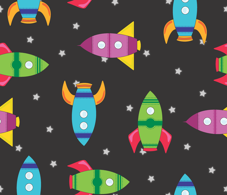 Rocketships_In_Space fabric by illustrative_images on Spoonflower - custom fabric