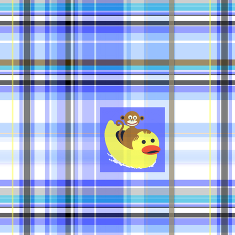 monkey ducky_plaid fabric by paragonstudios on Spoonflower - custom fabric