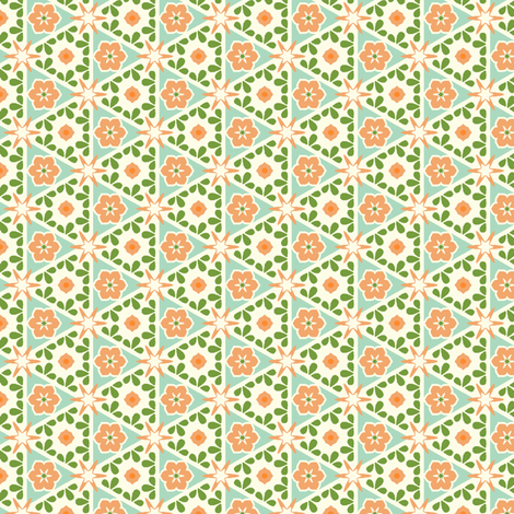 Cream Pyramid Floral - Victorian Apricot fabric by inscribed_here on Spoonflower - custom fabric