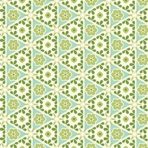 Cream Pyramid Floral - Victorian Green