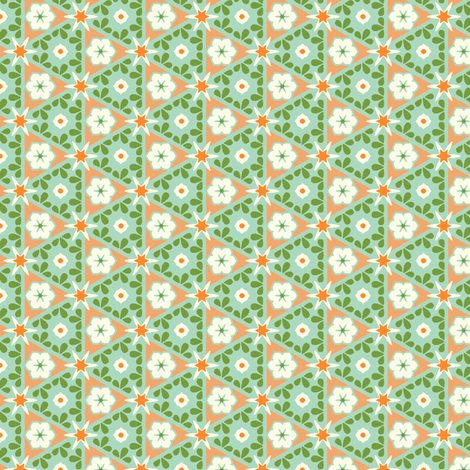 Pyramid Floral - Victorian Apricot fabric by inscribed_here on Spoonflower - custom fabric