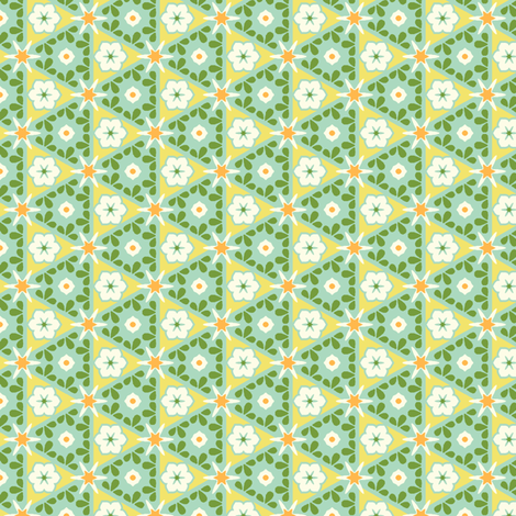 Pyramid Floral - Victorian Lemon fabric by inscribed_here on Spoonflower - custom fabric