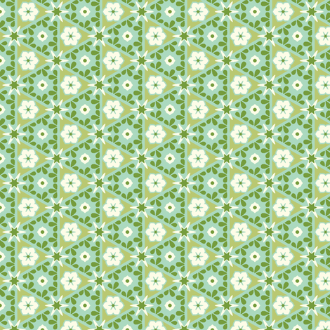 Pyramid Floral - Victorian Green fabric by inscribed_here on Spoonflower - custom fabric
