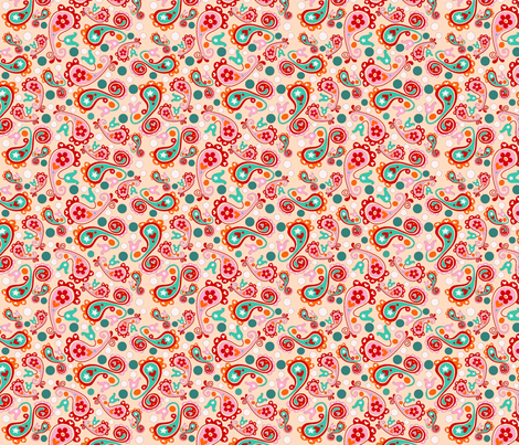 Peach Paisley Patch fabric by jolijou on Spoonflower - custom fabric