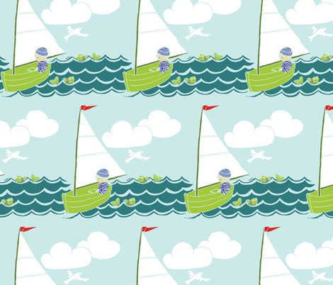 Little Boat Upon the Waves fabric by woodle_doo on Spoonflower - custom fabric