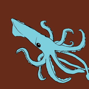 A Blue Squid on  Chocolate