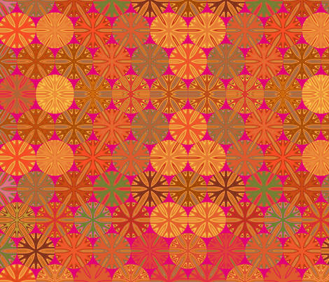 Citrus Slices Geometric  on Pink large  fabric by gingezel on Spoonflower - custom fabric