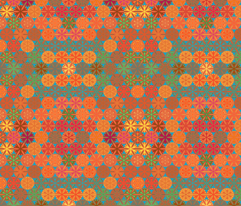 Citrus Slices Geometric on Blue small  fabric by gingezel on Spoonflower - custom fabric