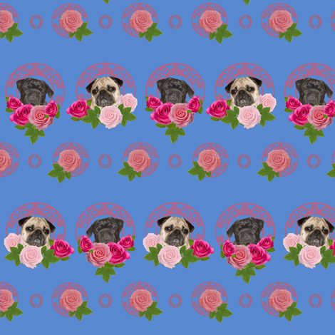 Pug wall paper pugs n roses fabric by lil_creatures on Spoonflower - custom fabric