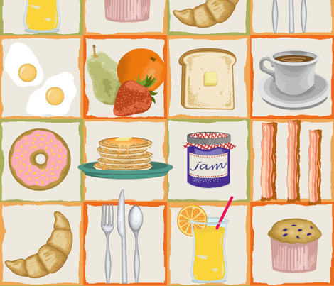 breakfast buffet lite fabric by littlerhodydesign on Spoonflower - custom fabric