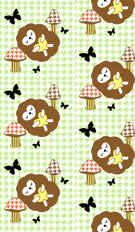 Sleepy Hedgehog in Houndstooth fabric by rileyconstruction on Spoonflower - custom fabric