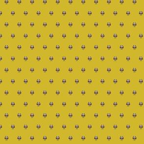 Kawaii Cute Mustard Owl Print Preppy Fabric