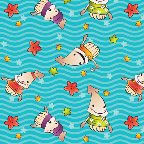 Squid Kids fabric by fuzzyskyfabric on Spoonflower - custom fabric