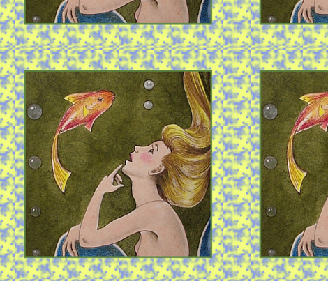 Mermaid and Fishy Friend fabric by melody_lea_lamb on Spoonflower - custom fabric