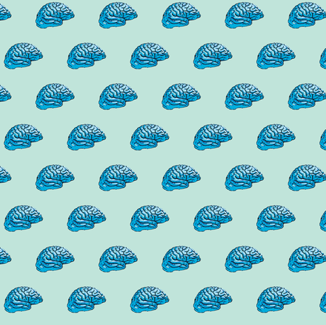 Blue brain pale fabric by pinkbrain on Spoonflower - custom fabric