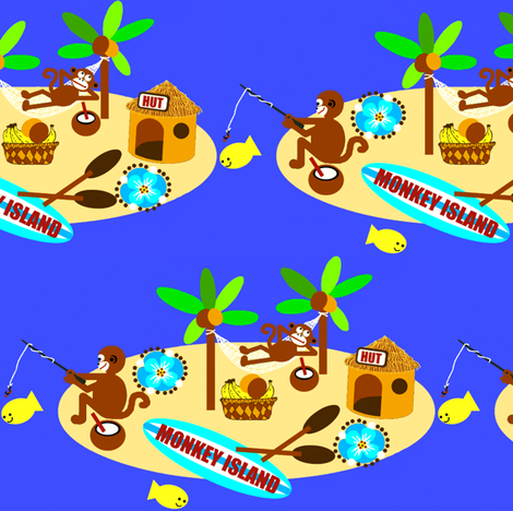 monkey island / fishin fabric by paragonstudios on Spoonflower - custom fabric