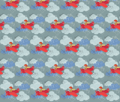 The Little Red Plane fabric by woodle_doo on Spoonflower - custom fabric
